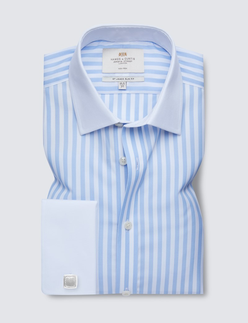 Non Iron Blue & White Bold Stripe Slim Fit Shirt with White Collar and Double Cuff