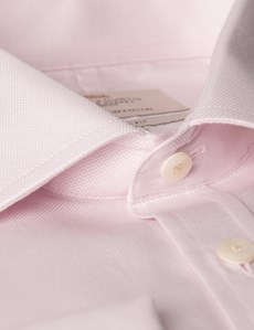 Men's Formal Pink Textured Slim Fit Shirt - Double Cuff - Easy Iron