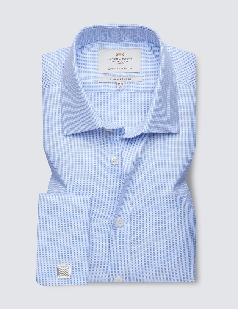 Men's Business Blue & White Fabric Interest Slim Fit Shirt - Double Cuff - Easy Iron