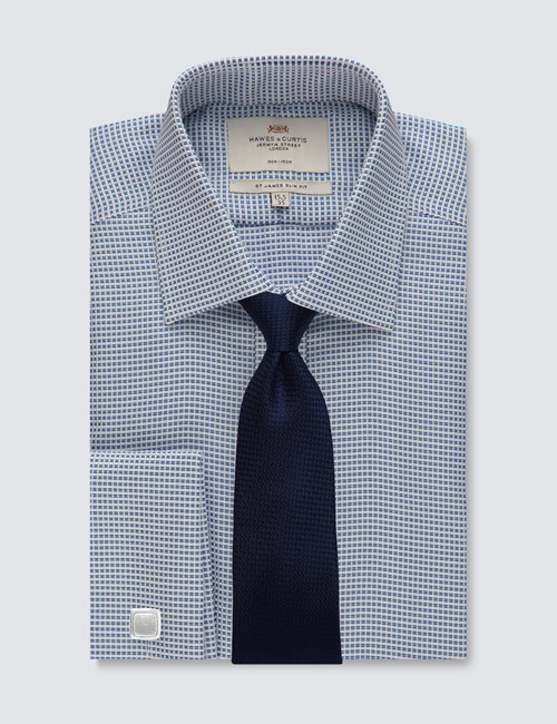 Men's Formal Navy & White Dobby Slim Fit Shirt - Double Cuff - Non Iron