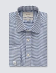 Men's Formal Navy & White Dobby Slim Fit Shirt - Double Cuff - Non Iron