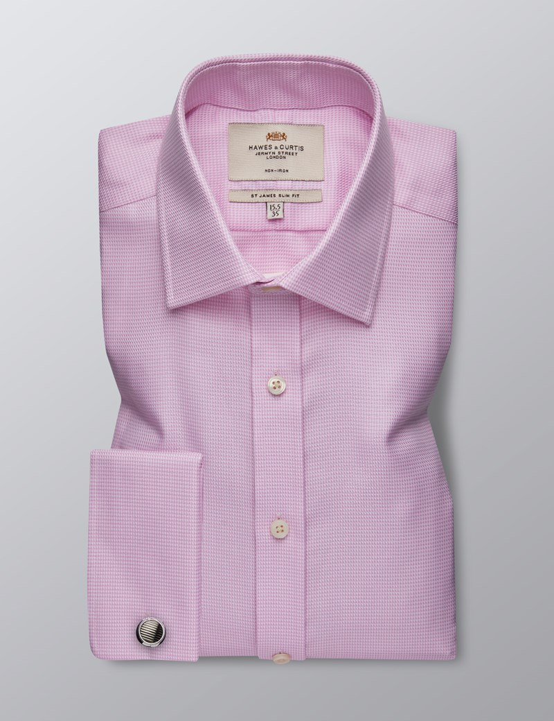 Men's Dress Pink & White Fabric Interest Slim Fit Shirt - French Cuff - Non Iron