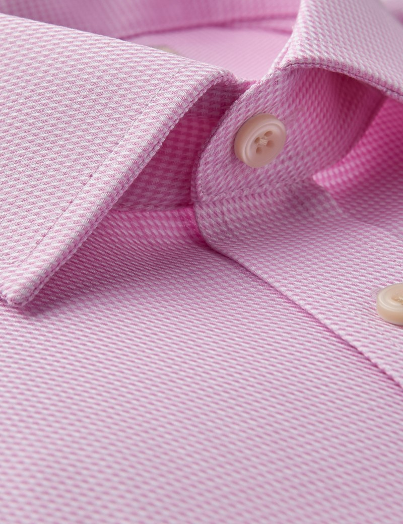 Men's Formal Pink & White Textured Dobby Slim Fit Shirt - Double Cuff - Non Iron