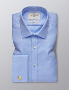 Men's Formal Blue & White Textured Dobby Slim Fit Shirt - Double Cuff - Non Iron