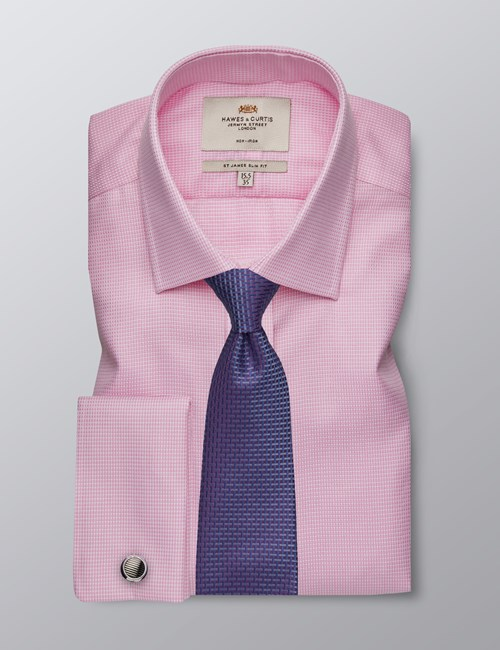 Men's Dress Pink & White Dobby Slim Fit Shirt - French Cuff - Non Iron