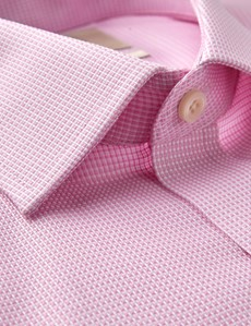 Men's Formal Pink & White Dobby Slim Fit Shirt - Double Cuff - Non Iron
