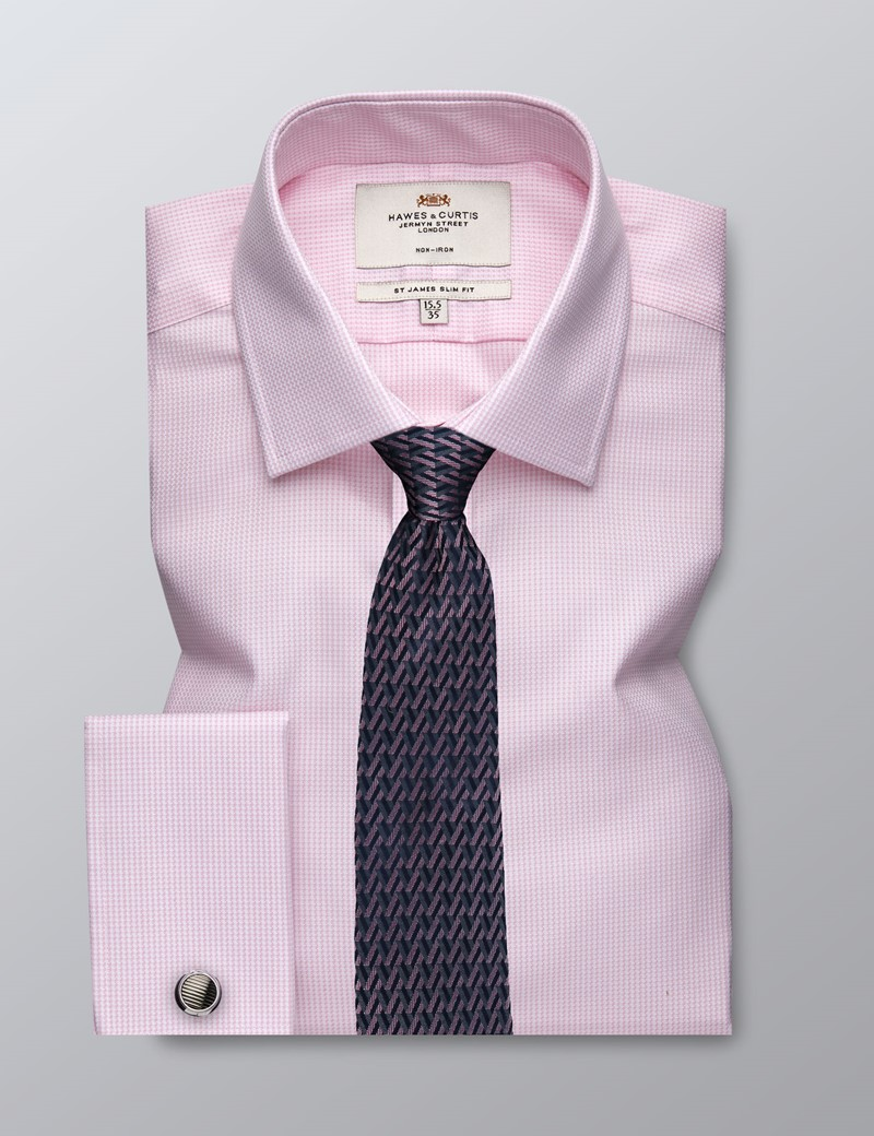 Men's Dress Pink & White Slim Fit Shirt - French Cuff - Non Iron