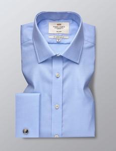 Men's Dress Light Blue & White Dobby Slim Fit Shirt - French Cuff - Non Iron