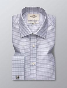 Bügelfreies Businesshemd – Slim Fit – Manschetten – Karo schwarz