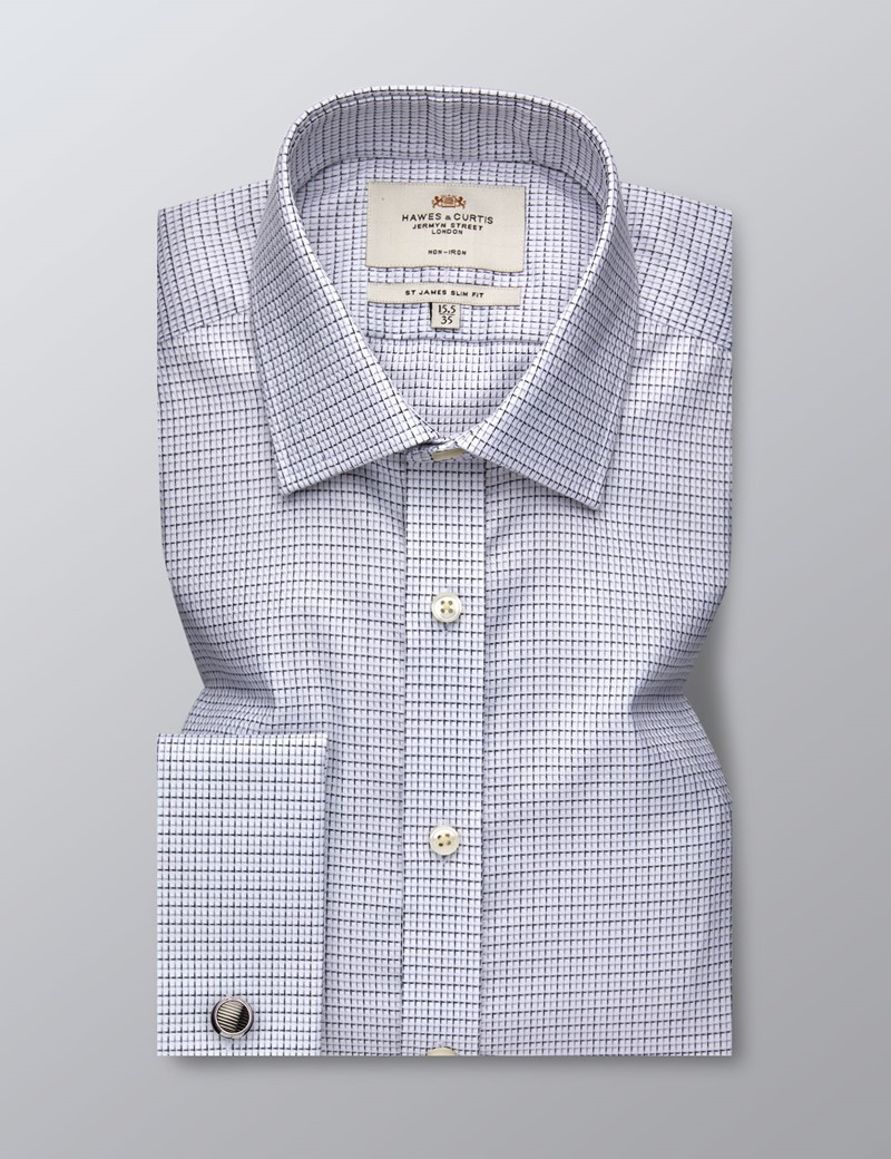 Men's Business White & Black Grid Check Slim Fit Shirt - Double Cuff - Non Iron