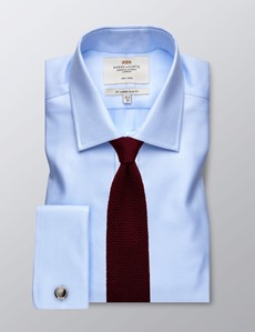 Men's Business Textured Blue Slim Fit Shirt - Double Cuff - Non Iron