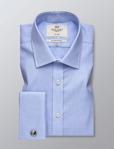 Men's Business Blue & White Textured Dogstooth Check Slim Fit Shirt - Double Cuff - Non Iron