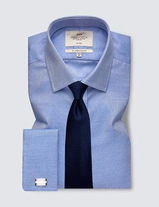 Men's Formal Navy & White Fabric Interest Slim Fit Shirt - Double Cuff - Non Iron