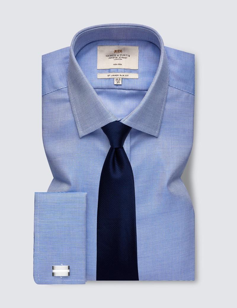 Men's Dress Navy & White Fabric Interest Slim Fit Shirt - French Cuff - Non Iron