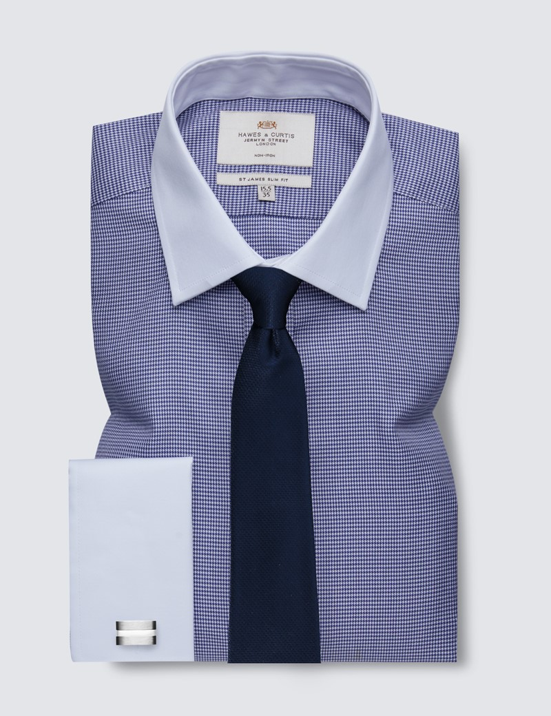 Men's Dress Navy & White Dogstooth Slim Fit Shirt with White Collar & French Cuff - Non Iron
