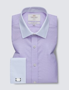 Men's Dress Lilac Fabric Interest Slim Fit Shirt with White Collar & French Cuff - Non Iron