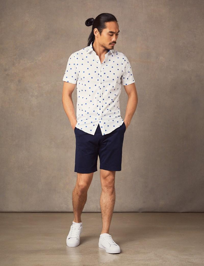 Men's Curtis White & Blue Dobby Spot  Slim Fit Shirt - Short Sleeve