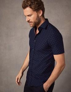 Men's Curtis Navy & Orange Spot Slim Fit Shirt - Short Sleeve