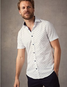 Men's Curtis White & Navy Dobby Spot Slim Fit Shirt - Short Sleeve