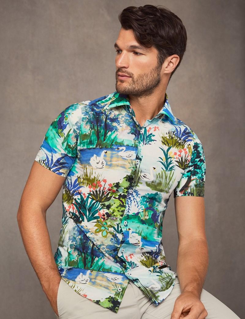 Men's Curtis Blue & Green Swan Fields Slim Fit Shirt - Short Sleeve