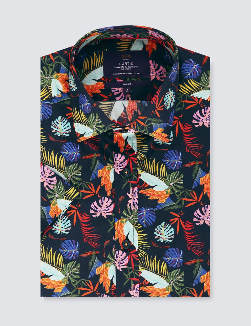 Men's Curtis Navy & Pink Tropical Floral Slim Fit Shirt - Short Sleeve