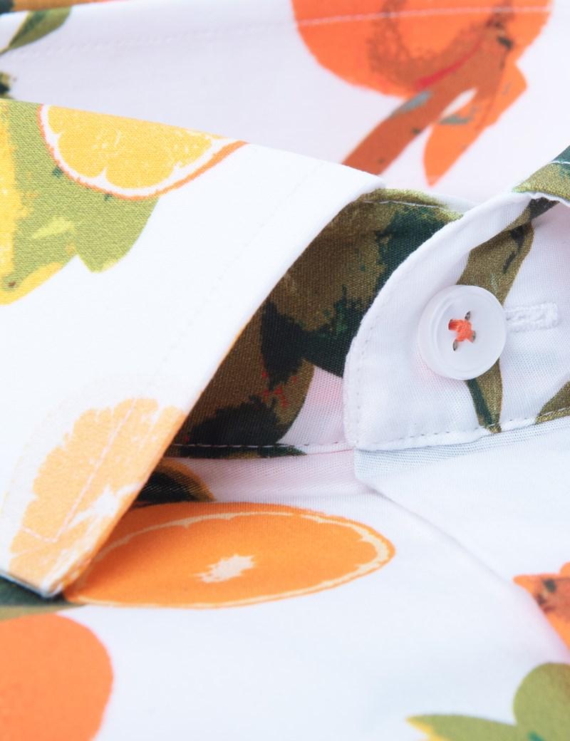 Men's Curtis Green & Orange Lemon Print Slim Fit Shirt - Short Sleeve