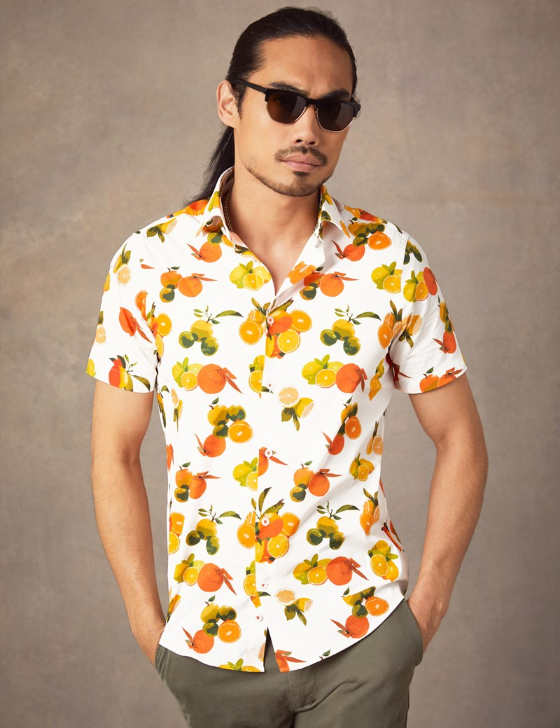 Men's Curtis Green & Orange Lemon Print Slim Fit Shirt - Short Sleeve