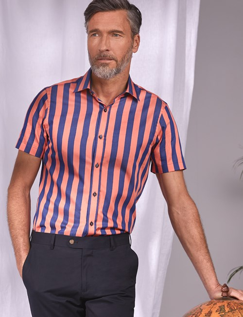 Men's Curtis Navy & Orange Bengal Stripe Cotton Slim Fit Shirt - Short Sleeve