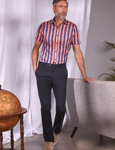 Men's Curtis Navy & Orange Bengal Stripe Cotton Slim Fit Shirt - Short Sleeve