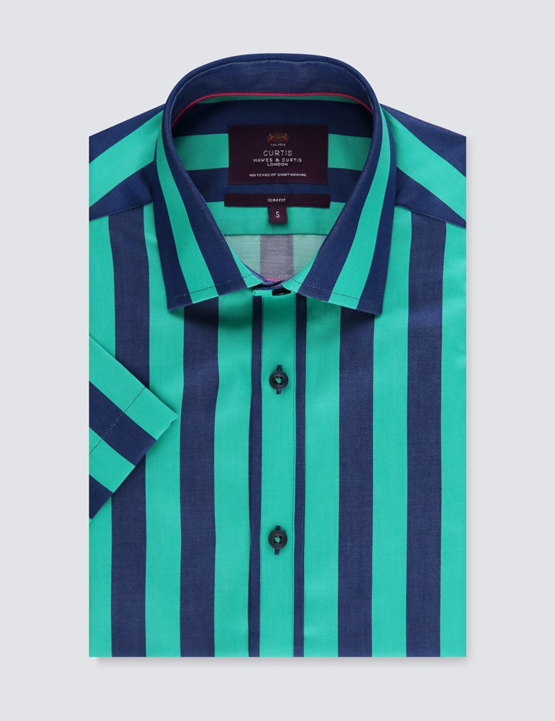 Men's Curtis Turquoise & Navy Bengal Stripe Cotton Slim Fit Shirt - Short Sleeve