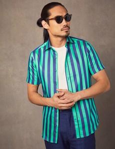 Men's Curtis Turquoise & Navy Bengal Stripe Cotton Slim Fit Shirt - Short Sleeve