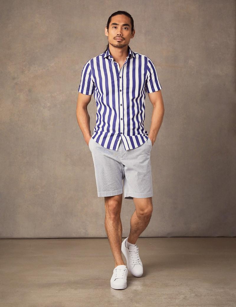 Men's Curtis Navy & White Bengal Stripe Cotton Slim Fit Shirt - Short Sleeve