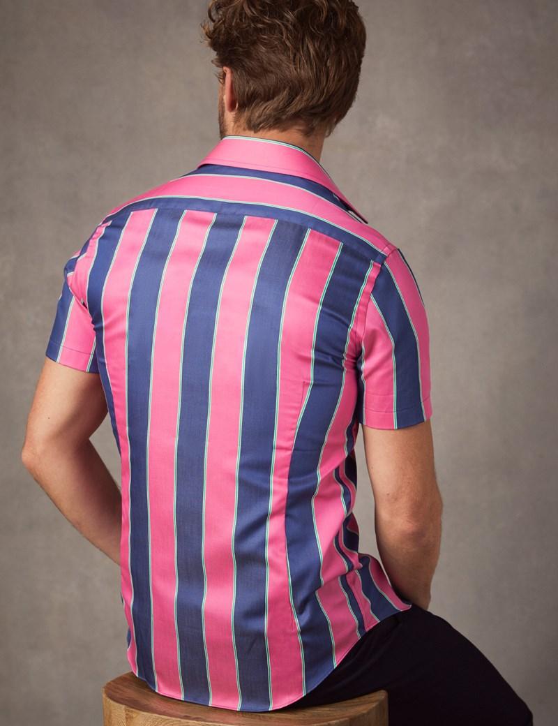 Men's Curtis Navy & Pink Wide Stripe Cotton Slim Fit Shirt - Short Sleeve