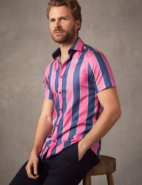 Men's Curtis Navy & Pink Wide Stripe Cotton Slim Fit Shirt - Short Sleeve