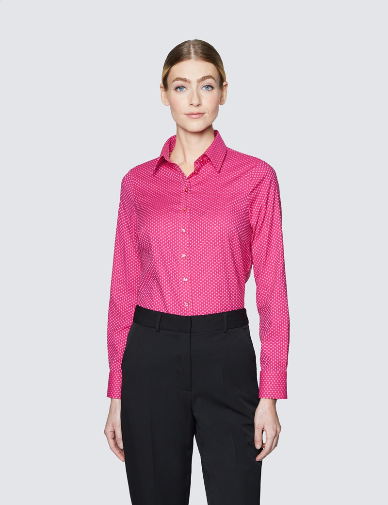 Ladies Red and White Semi Fitted Cotton Shirt