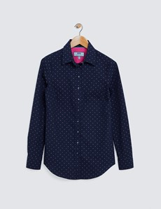 Ladies Navy and Pink Semi Fitted Cotton Shirt