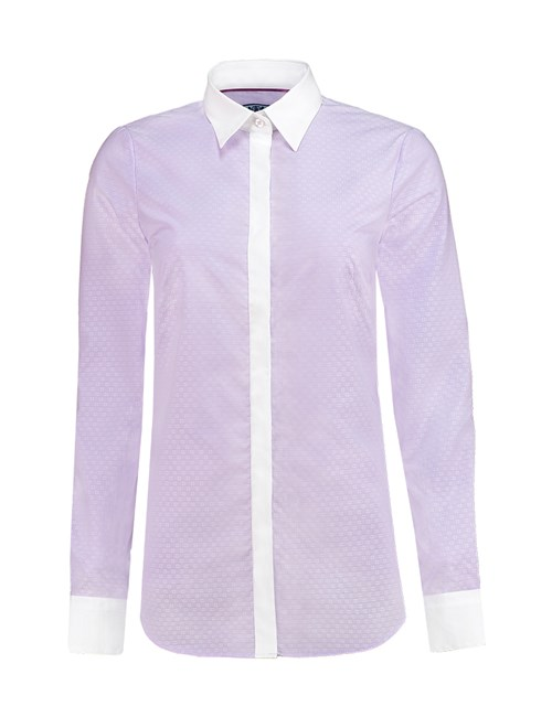 Women's Lilac Dobby Weave Semi-Fitted Shirt - Single Cuff