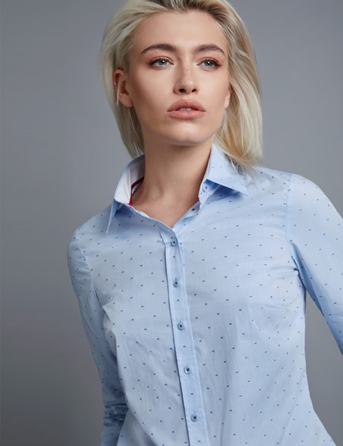 Women's Blue & Navy Dobby Semi Fitted Shirt  - Single Cuff