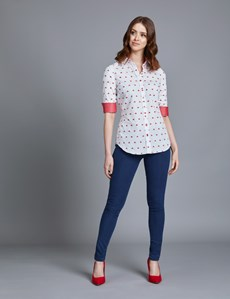 Women's White & Red Melon Design Dobby Semi Fitted Shirt - Single Cuff