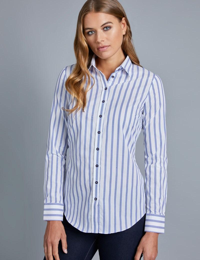 Women's White & Navy Stripe Dobby Semi Fitted Shirt - Single Cuff