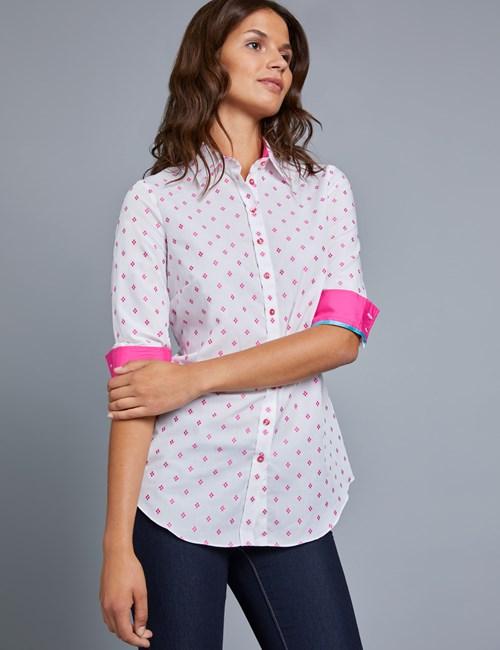 Women's White & Pink Dobby Semi Fitted Shirt - Single Cuff