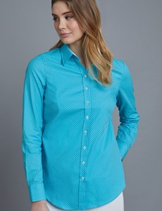 Women's Turquoise & White Dobby Spot Semi Fitted Shirt - Single Cuff