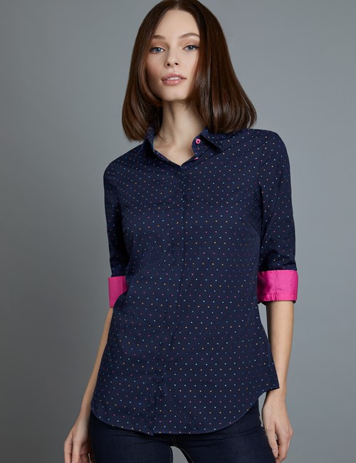 Women's Navy & Pink Dobby Spot Semi Fitted Shirt - Single Cuff