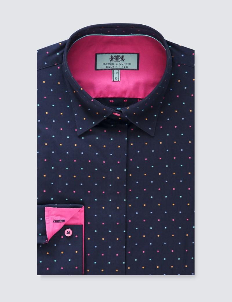 Women's Navy & Pink Dobby Spot Semi Fitted Shirt - Single Cuff