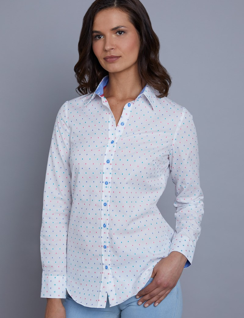 Women's White & Light Blue Dobby Spot Semi Fitted Shirt - Single Cuff