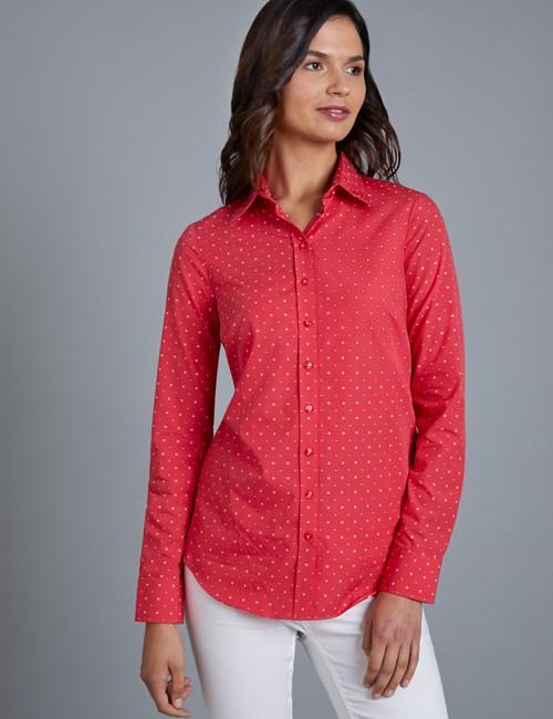 Bluse – Regular Fit – Baumwolle – Rot mit Pünktchen