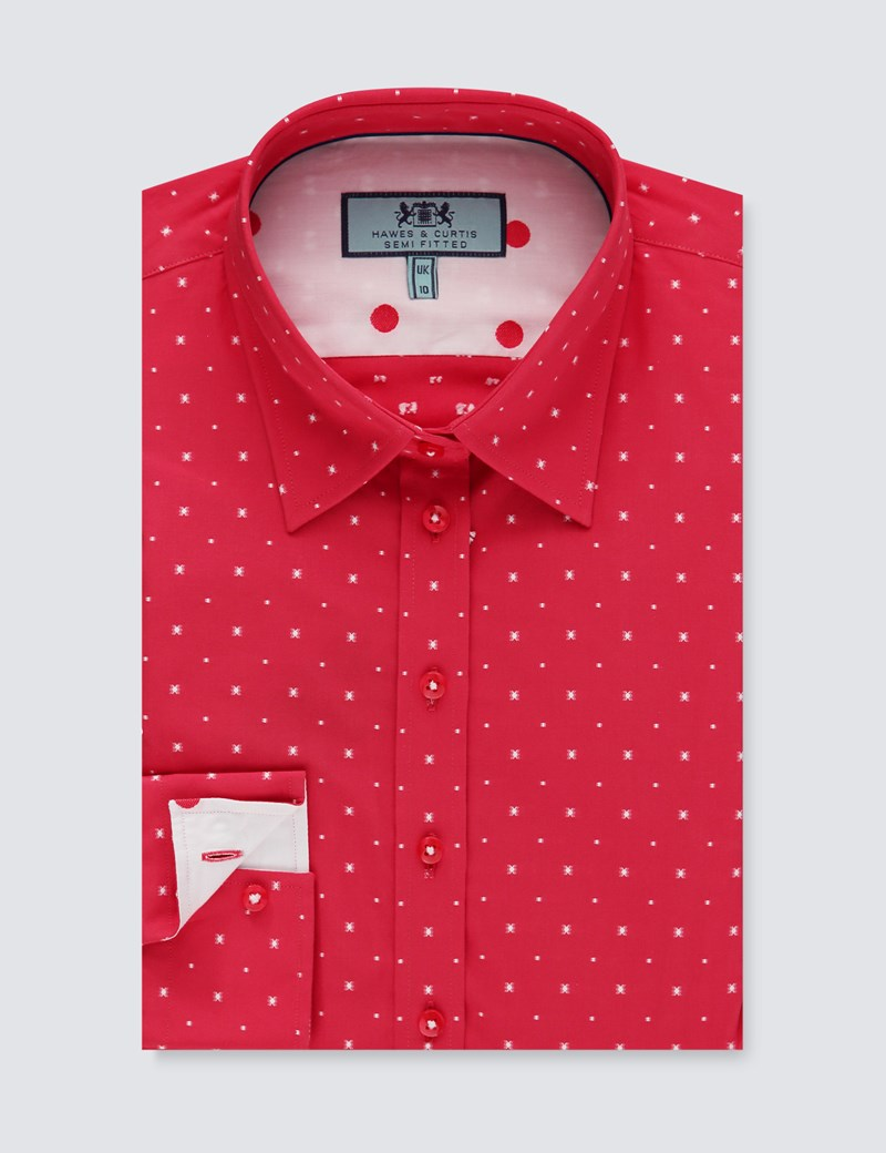 Women's Red Dobby Weave Semi Fitted Shirt - Single Cuff