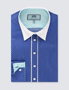 Bluse – Regular Fit – Baumwolle – Blau getupft mit Paspel