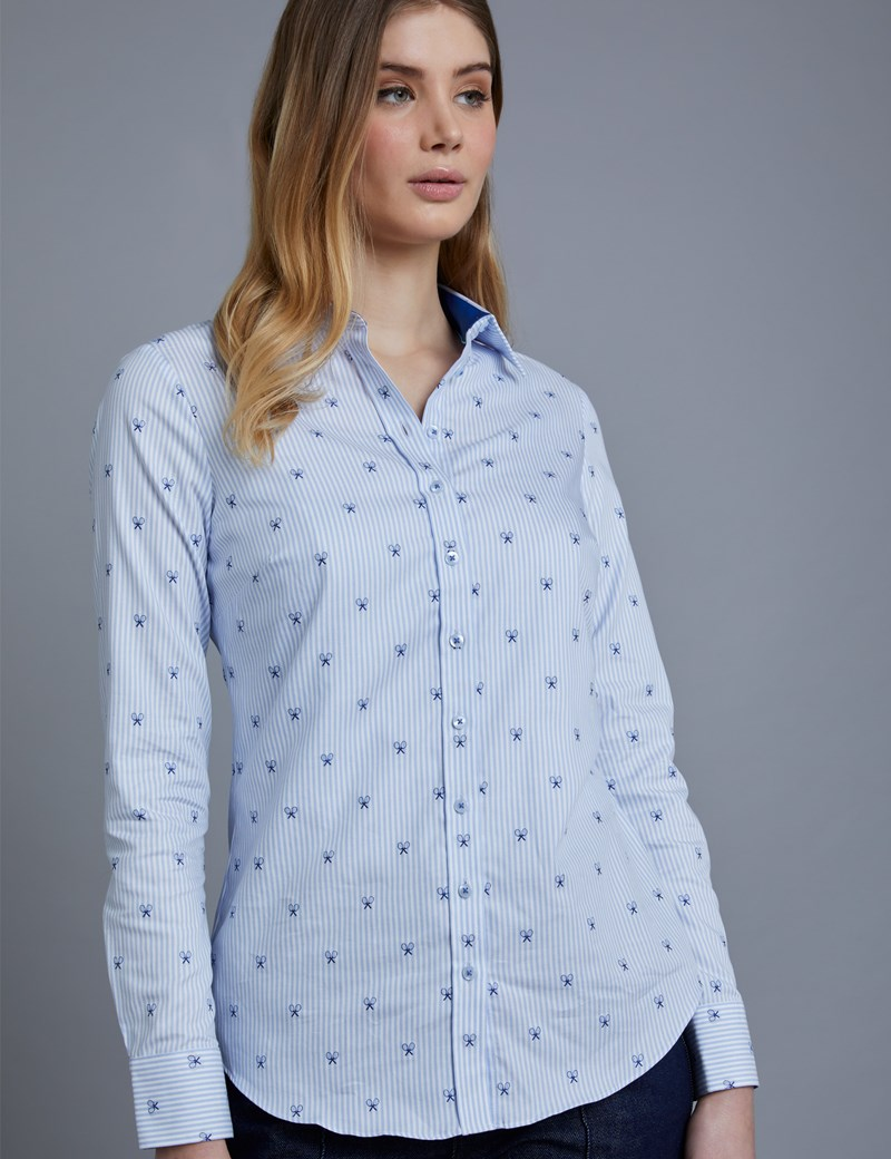 Women's Navy & Blue Dobby Semi Fitted Shirt - Single Cuff