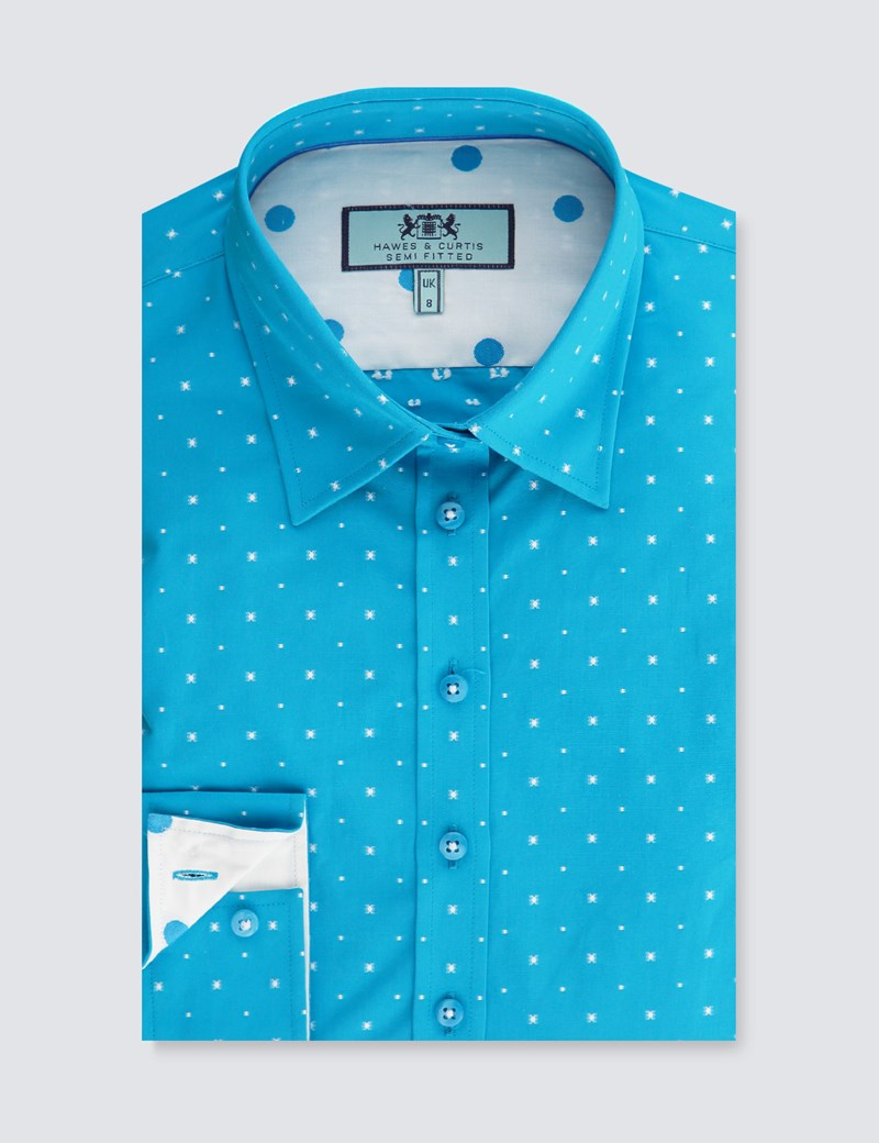 Women's Turquoise & White Dobby Semi Fitted Shirt - Single Cuff